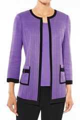Plus Size Contrasting Trim Crochet Knit Jacket Color Sunset Purple/Black