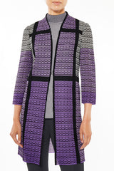 Sheer Pattern Stitch Knit Duster Color Sunset Purple/Black/Lunar Rock