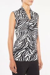 Tiger Print Tie-Neck Crepe de Chine Blouse Color Black/White