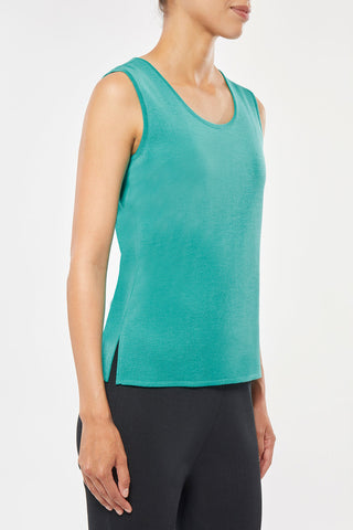 Mid- Length Scoop Neck Knit Tank, Modern Green – Ming Wang