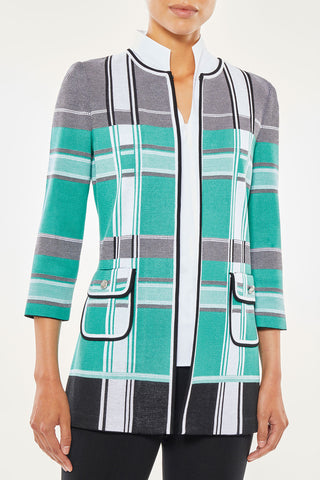 Bold Plaid Pocket Detail Knit Jacket – Ming Wang