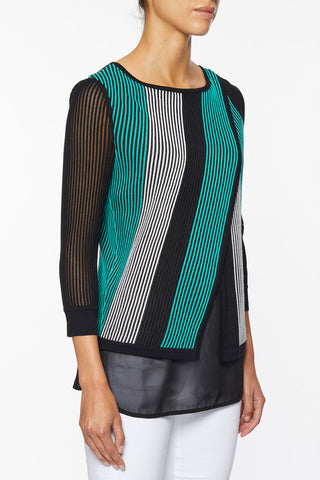 Diagonal Stripe Mixed Media Tunic – Ming Wang