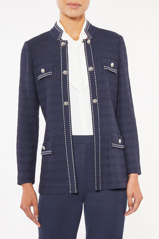Contrast Stitch Mandarin Collar Knit Jacket – Ming Wang
