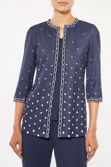 Plus Size Graduated Dot Knit Jacket – Ming Wang