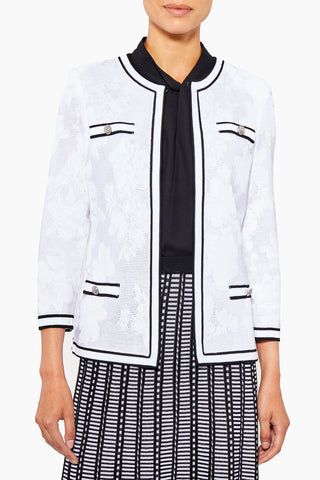 Sheer Subtle Floral Knit Jacket – Ming Wang