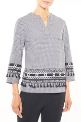Multi Pattern Tassel Trim Gingham Tunic – Ming Wang