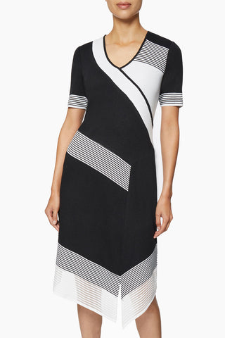 Stripe Accent Asymmetrical Knit Dress – Ming Wang