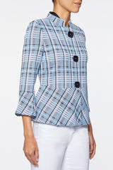 Soft Plaid Knit Peplum Jacket – Ming Wang