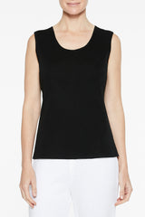 Plus Size Mid-Length Scoop Neck Knit Tank, Black