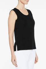 Black Longer Scoop Neck Tank Color Black