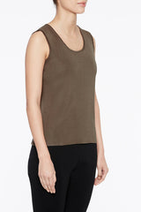 Cappuccino Scoop Neck Tank Color Cappuccino Brown