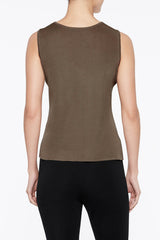 Cappuccino Long Scoop Neck Tank Color Cappuccino Brown