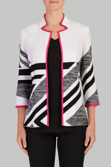 Abstract Dahlia Trim Jacket Color White/Black/Dahlia
