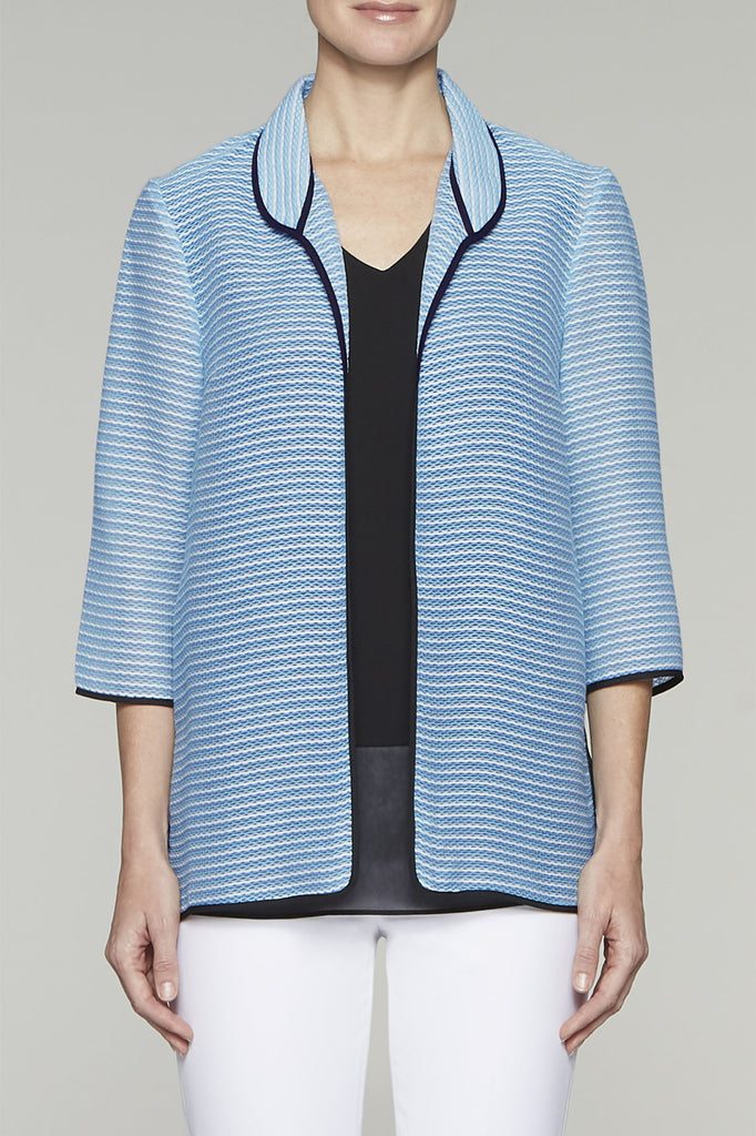 Bluebonnet Striped Woven Jacket Color Bluebonnet/Black/White