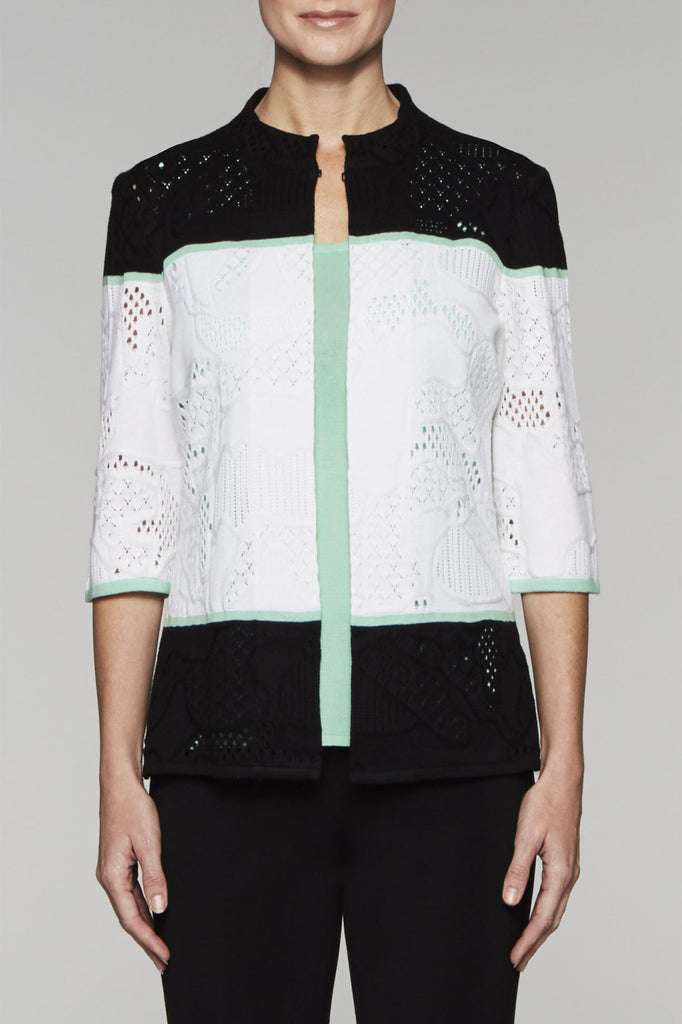 Colorblock Eyelet Stitch Jacket Color White/Black/Herb