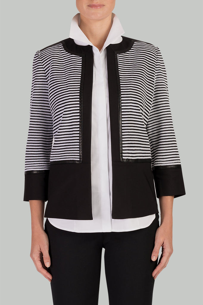 Colorblock Striped Knit Jacket Color Black/White