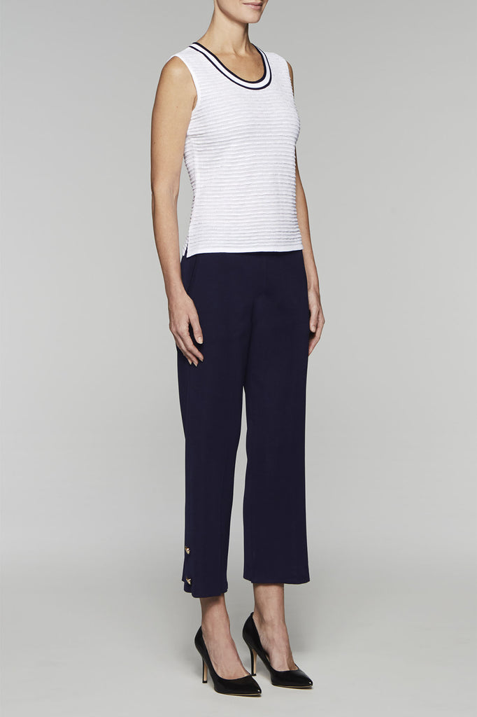 Contrast Collar Scoop Neck Tank Color White/Navy