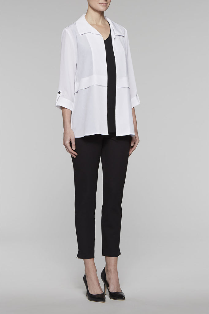 Cuff-Sleeved Crepe Jacket Color White