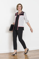Cuff-Sleeved Eyelet Stitch Jacket Color White/Black/Pink Lemonade