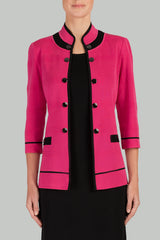 Dahlia Colorblock Military Jacket Color Dahlia/Black