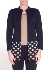 Diamond Gradient Jacket Color Navy/Camel/Ivory