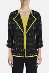 Dotted-Grid Relaxed Fit Jacket Color Black/Turmeric