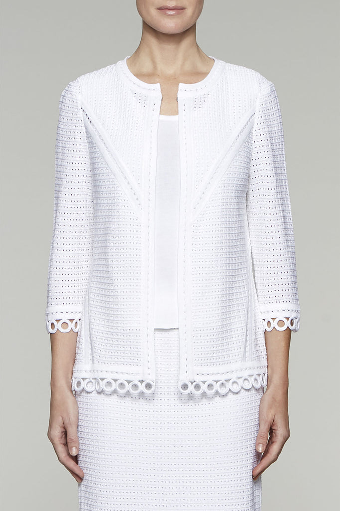Eyelet Stitch Cardigan Color White