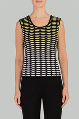 Geometric Gradient Scoop Neck Tank Color Aurora/Black/White