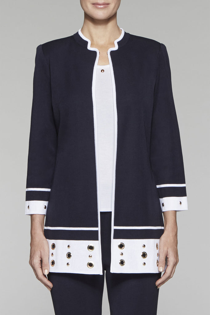Grommet Studded Colorblock Jacket Color Navy/White