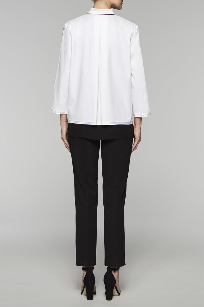 Mandarin Collar Jacket Color White/Black