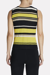 Multi-Striped Scoop Neck Tank Color Black/Turmeric/Sepia Tan/Ivory