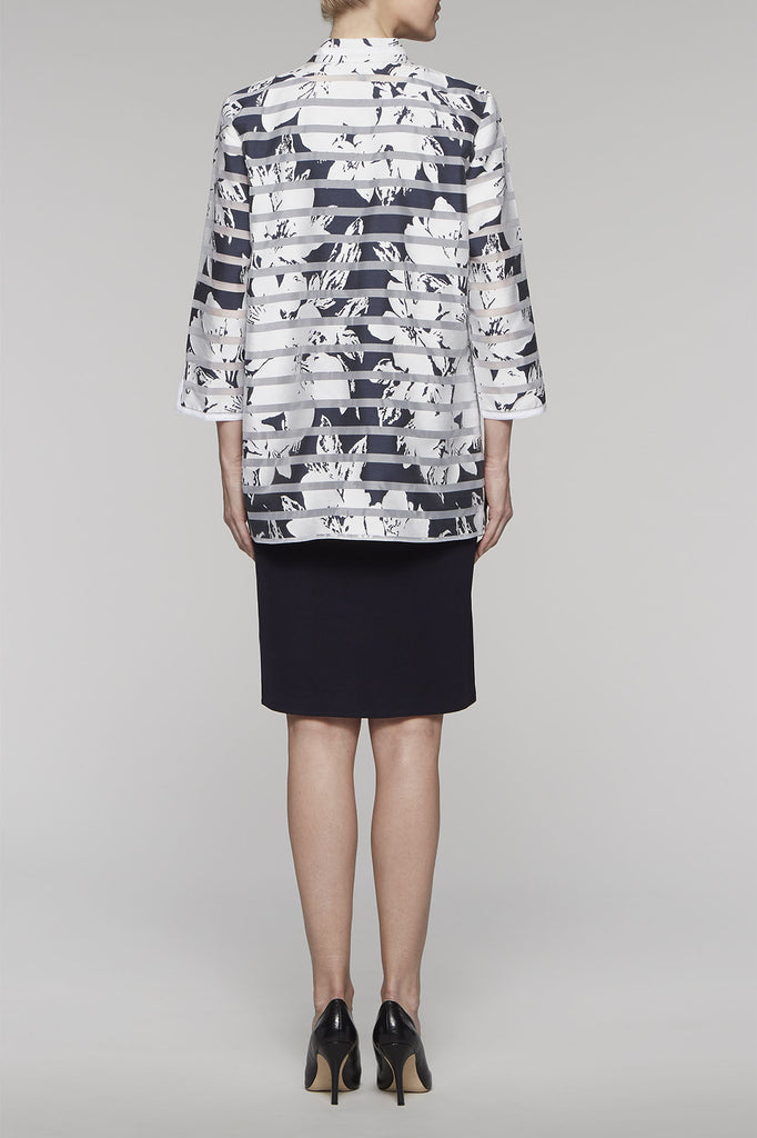 Navy Garland Blossom Jacket Color Navy/White