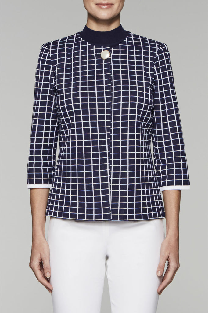 Navy Grid Knit Jacket Color Navy/White