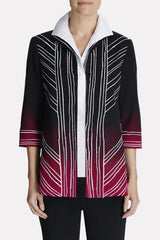 Ombre Embroidered Jacket Color Charged Pink/Black/Ivory