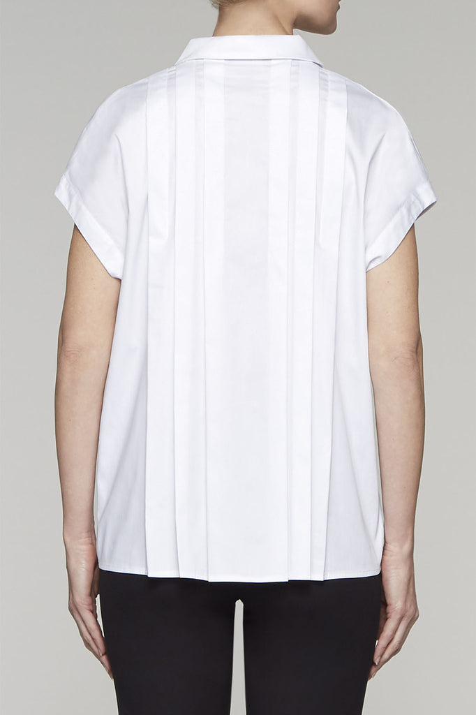 Pleated Back Blouse Color White