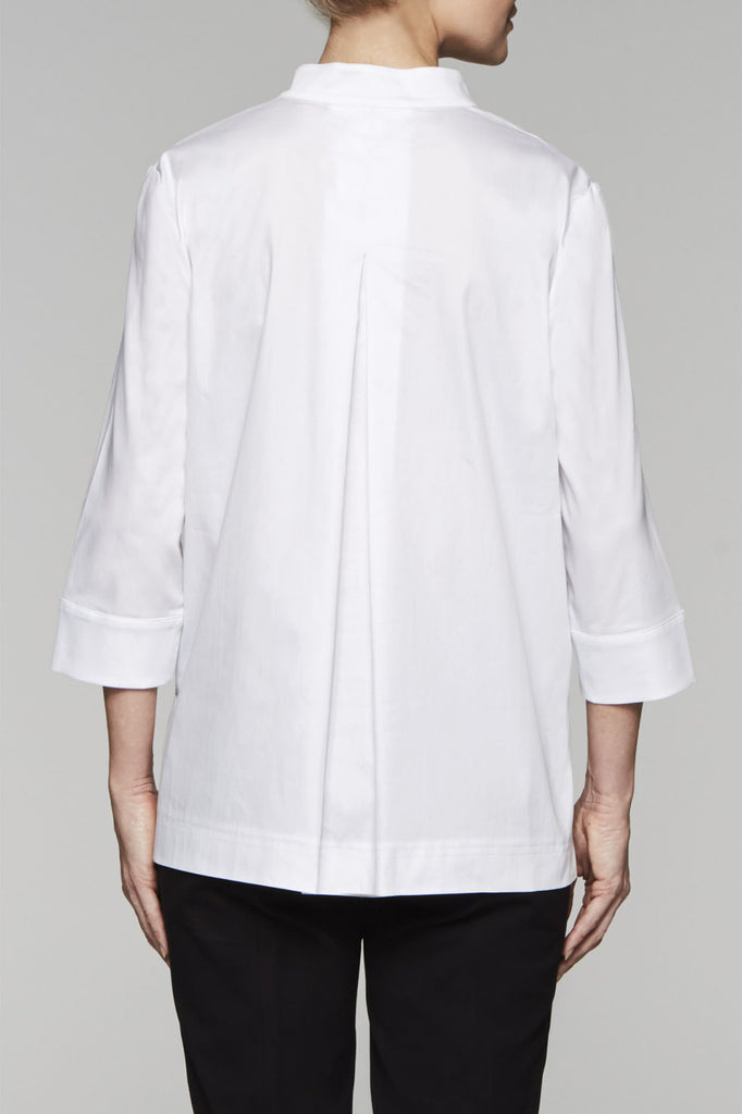 Pleated Back Split Neck Blouse Color White/Black