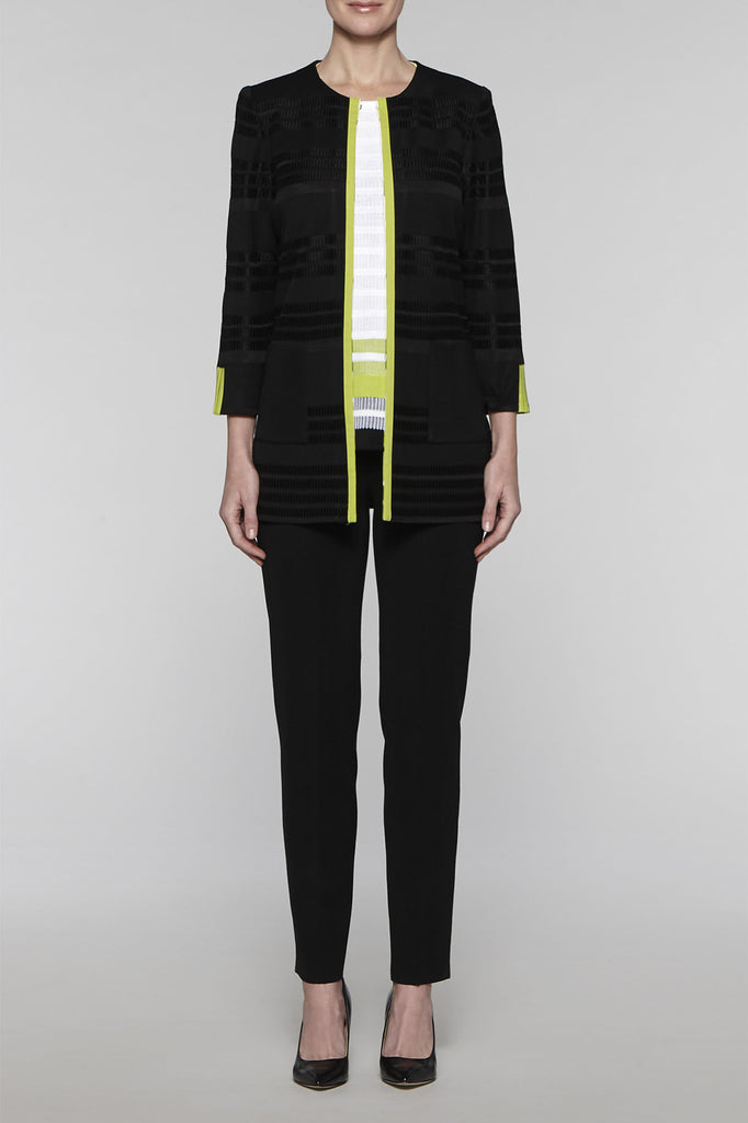Ribbed Panel Jacket Color Black/Pear/White