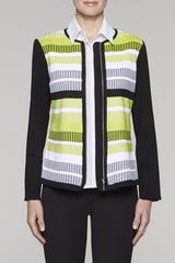 Ribbed Contrast Colorblock Jacket Color Black/Pear/White