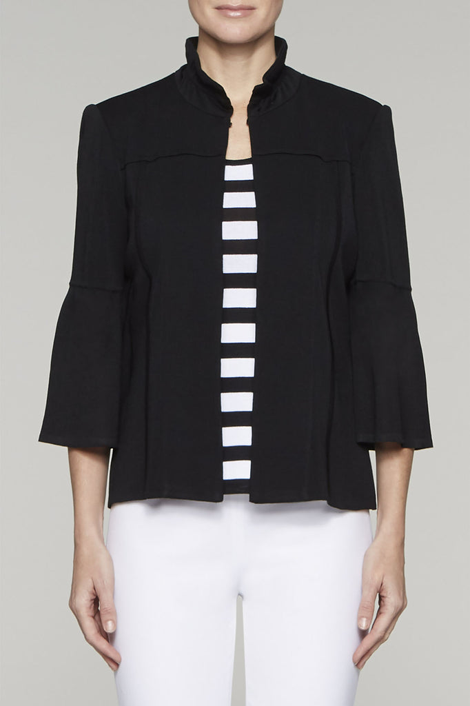 Ruffle Collar Jacket Color Black