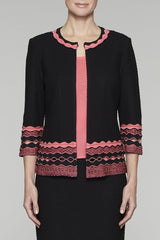 Ruffle Trim Knit Jacket Color Black/Pink Lemonade