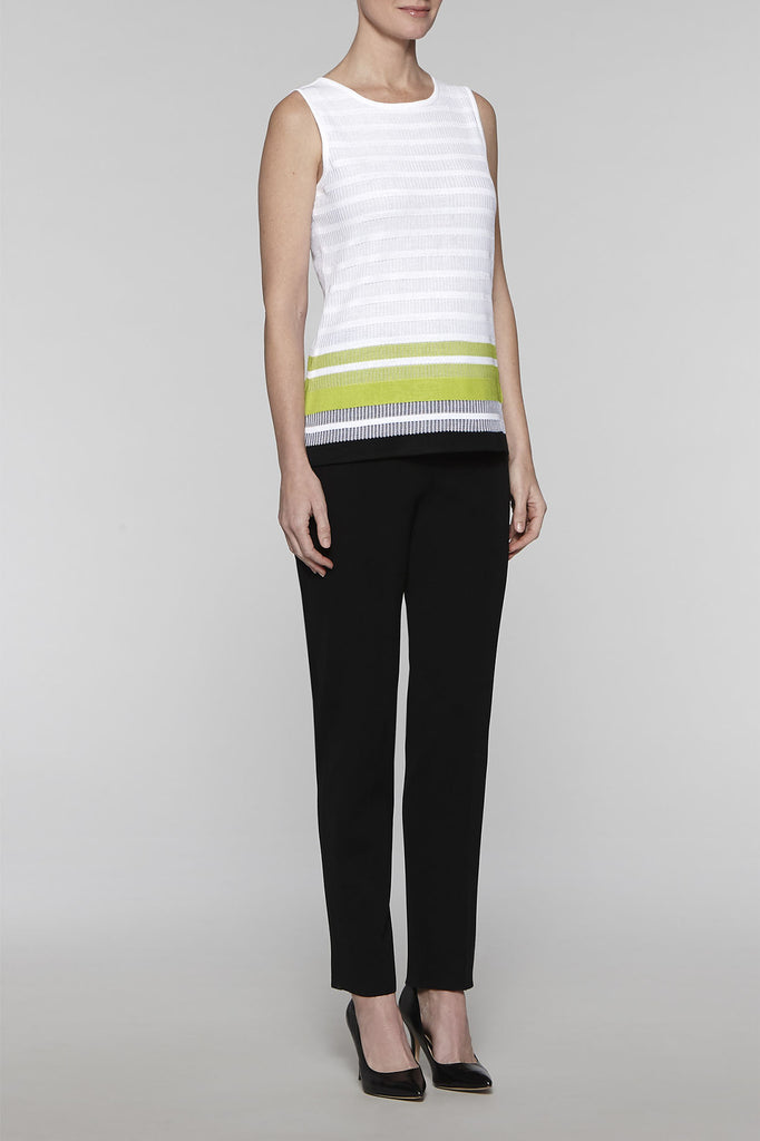 Scoop Neck Ribbed Panel Tank Color White/Black/Pear