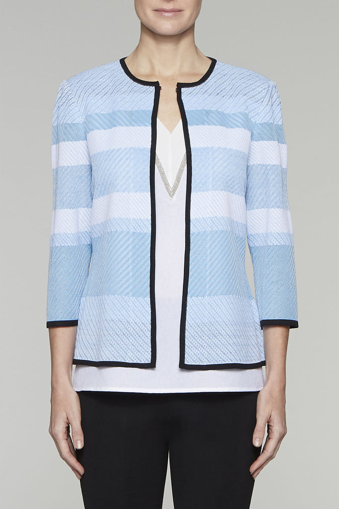 Shades of Blue Blockstripe Jacket Color Bluebonnet/Black/White