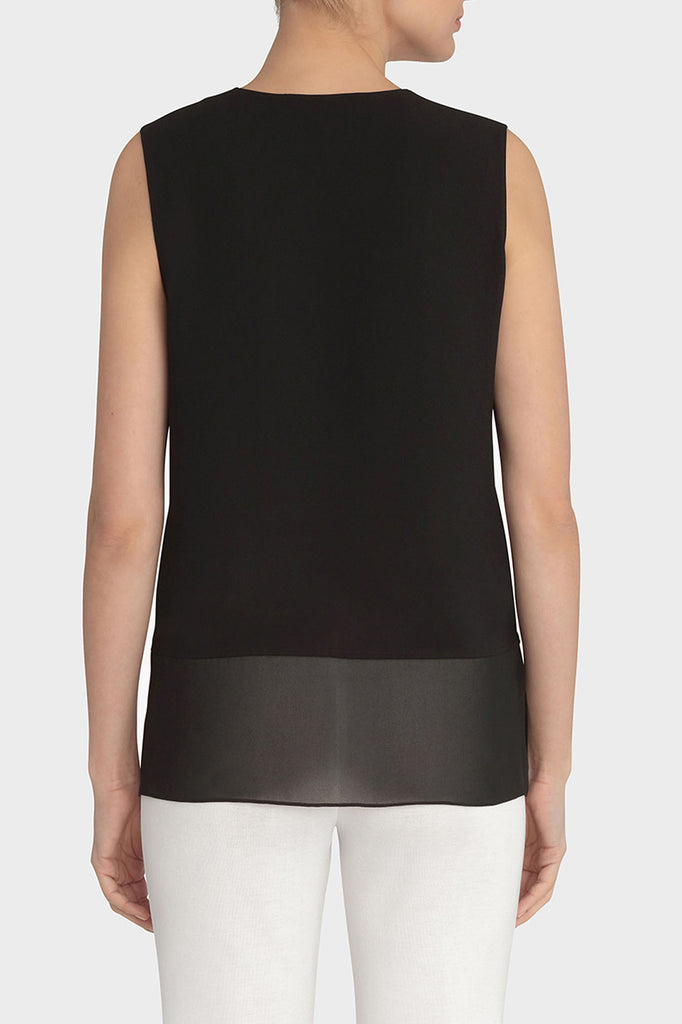 Sheer-Hem V-Neck Tank Color Black