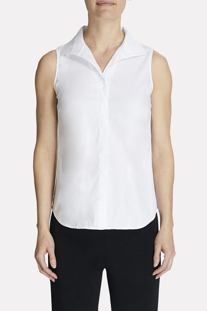 Sleeveless Tailored Blouse Color White
