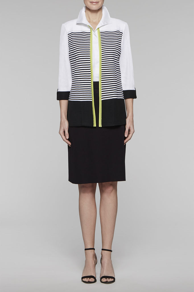 Striped Colorblock Jacket Color Black/Pear/White