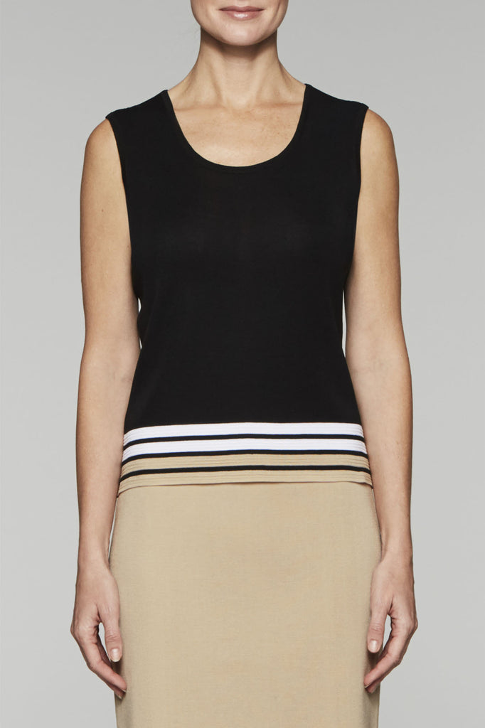 Striped-Hem Scoop Tank Color Black/Twig/White