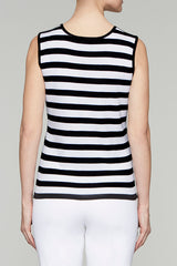 Black and White Striped Scoop Neck Tank Color Black/White
