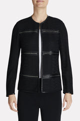 Studded Leather Framed Jacket Color Black