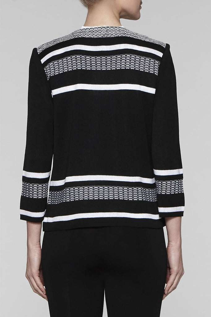 Textured Angular Neck Jacket Color Black/White
