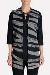 Textured Fringe Vest Color Black/Sterling